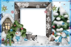 Mini Photo frame - Funny snowmen