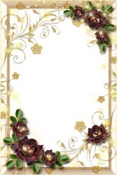 Mini Photo frame - Gold and roses