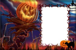 Mini Photo frame - Halloween evil pumpkin