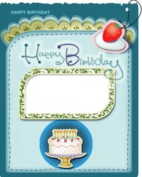 Mini Photo frame - Happy Birthday greeting card with cake and candles