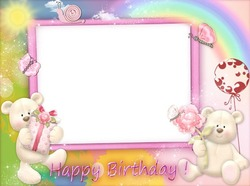 Mini Photo frame - Happy Birthday with pink teddy bears