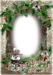 Mini Photo frame - Happy Holidays and Merry Xmas with snowman