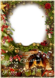 Mini Photo frame - Holiday by the fireplace