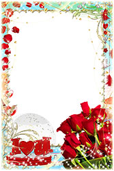 Mini Photo frame - I love you. Bouquet of red roses