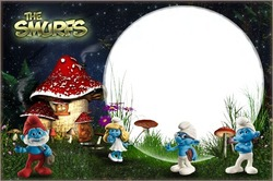 Mini Photo frame - In the Smurf's village