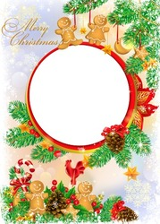 Mini Photo frame - Meet Christmas with candies and Gingerbread Man