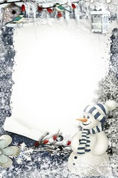 Mini Photo frame - New year congratulation from snowman