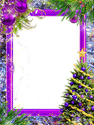 Mini Marco de fotos - New Year tree with violet decorations