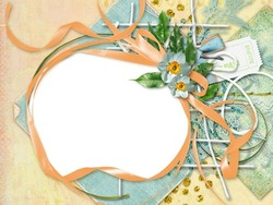 Mini Photo frame - Orange ribbon