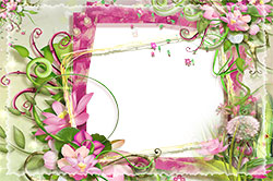 Mini Photo frame - Photo frame with pink and green flowers