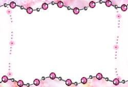 Mini Photo frame - Pink beads
