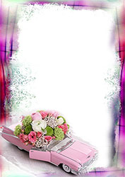 Mini Photo frame - Pink car full of flowers