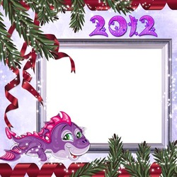 Mini Photo frame - Purple little dragon