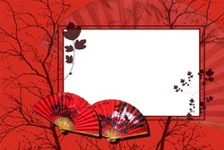 Mini Photo frame - Japan. Red colors