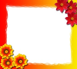 Mini Photo frame - Red and yellow flowers