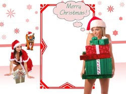 Mini Photo frame - Santa girls