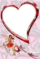 Mini Photo frame - Valentine's day. Girl on the ribbon