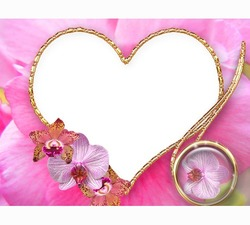 Mini Photo frame - Valentine's day. Pink flowers heart