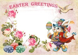 Mini Photo frame - Vintage easter greetings card