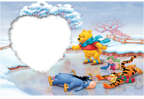 winnie the pooh skiing - Winnie The Pooh Picture Frame