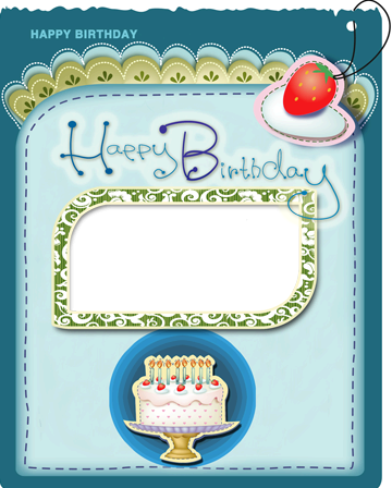 Photo Frames Happy Birthday Greeting Card With Cake And Candles