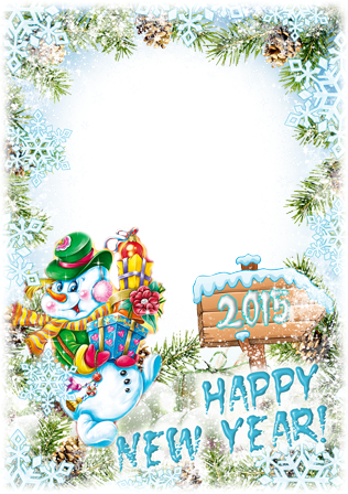 Photo frames. Happy New Year from the snowman