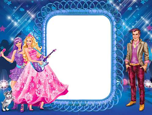 Photo frames. Barbie is playing guitar