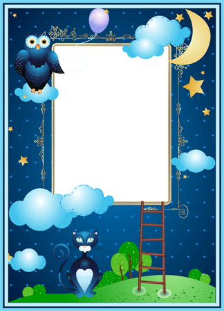 Photo frame - Aplique night photo frame with moon, owl and cat
