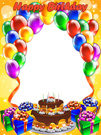 Photo frame - Birthday cake with balloons