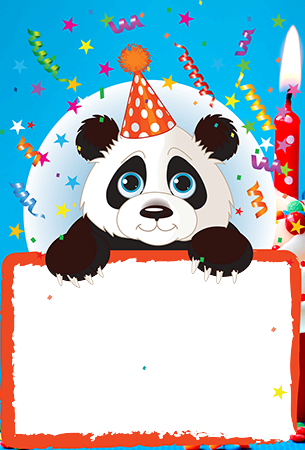 Foto rámeček - Birthday frame with cute Panda