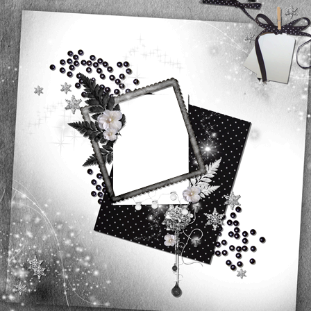 Photo frame - Black-white scrap page