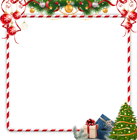 Foto rāmji - Bright red and white frame with a New Year decorations