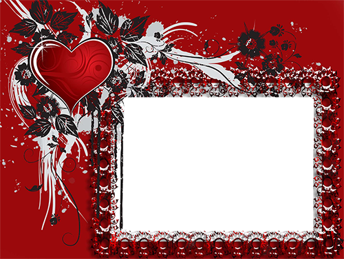 Photo frame - Bright red heart