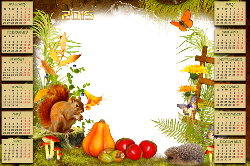 Photo frame - Calendar 2015. With a squirrel and hedgehog