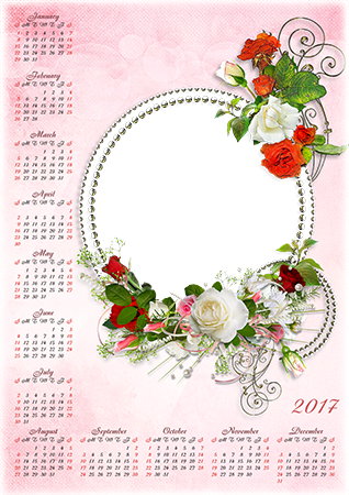 Photo frame - Calendar 2017. White and red roses