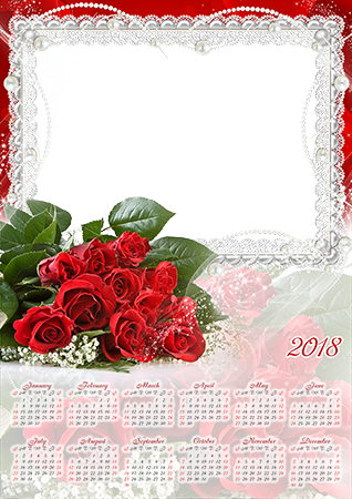 Photo frame - Calendar 2018. Bunch of red roses