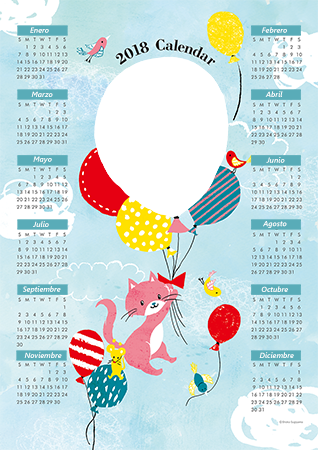 Marco de fotos - Calendar 2018. Cat mouse and balloons
