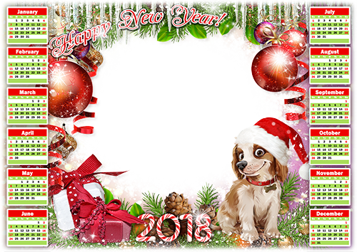 Photo frame - Calendar 2018. Happy New Year
