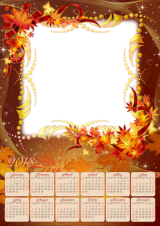 Foto rámeček - Calendar 2018. Magic Autumn leaves