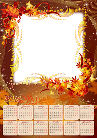 Molduras para fotos - Calendar 2018. Magic Autumn leaves