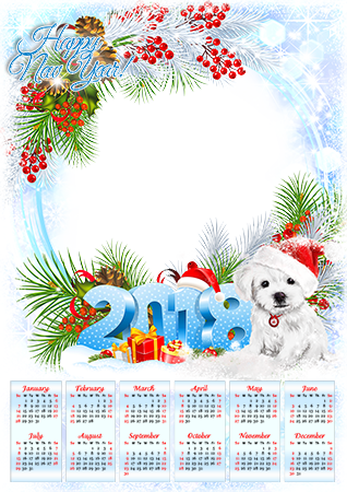 Foto rāmji - Calendar 2018. With a puppy