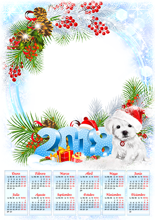 Marco de fotos - Calendar 2018. With a puppy