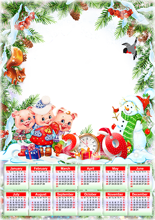 Фоторамка - Calendar 2019. Three little pigs
