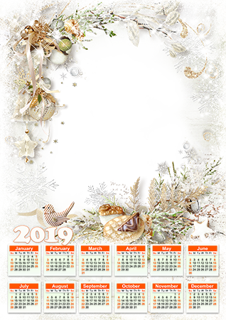 Photo frame - Calendar 2019. Vintage ornaments