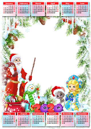 Photo frame - Calendar 2020. Father Frost and Snow Maiden