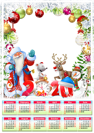 Photo frame - Calendar 2020. Good old Santa