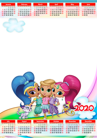 Molduras para fotos - Calendar 2020. Shimmer and Shine