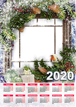 Marco de fotos - Calendar 2020. Snowy window