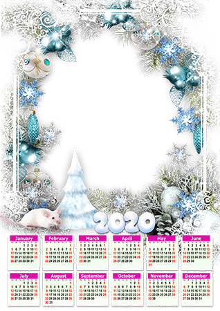 Photo frame - Calendar 2020. White patterns