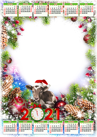 Photo frame - Calendar 2021. Metal ox in Christmas hat